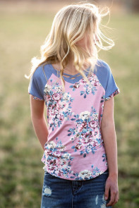 Little Girl Pink Floral Shirt Blue Short Sleeve Top