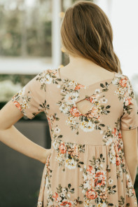 Cross Back Peachy Floral Top for Girl