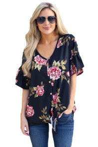 Blush Peony Blossom Black Tie Front Blouse