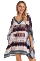 Brown Tie Dye Print Oversized V Neck Poncho
