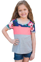 Coral Grey Floral Patchwork Summer Tee for Girl