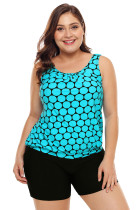 Cyan Black Polka Dot Tank Top and Short Swimsuit