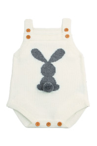 Cute Bunny Knitted White Newborn Romper