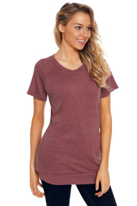Burgundy Heathered Short Sleeve Pocket Tee