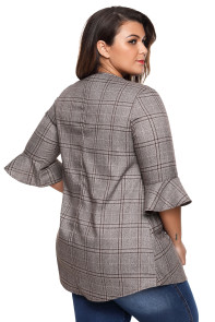 Taupe Checked Longline Plus Top with Flute Sleeves