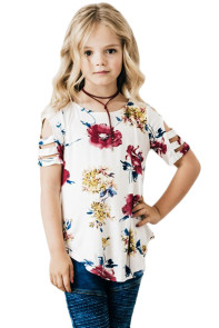 White Floral Print Ladder Short Sleeve Top