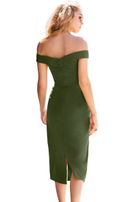 Green Military Button Off-The-Shoulder Vintage Dress