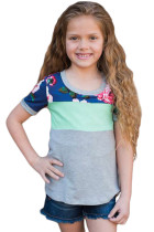 Mint Grey Floral Patchwork Summer Tee for Girl