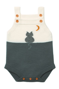 Grey Cat Under the Moon Cotton Knit Infant Bodysuit