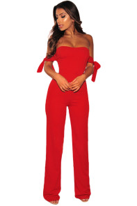 Red Off Shoulder Tie Knot Strapless Jumpsuit