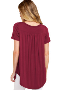Burgundy Button Front Babydoll Flowy Tee Top with Pleats