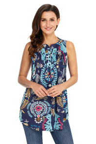 Multi Leafy Print Ruched Tank Top