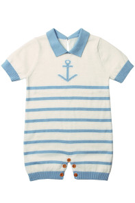Blue Anchor Stripe Knit Baby Romper Suit