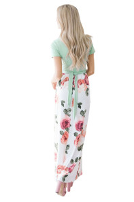 Mint White Floral Pocket Style Long Summer Dress