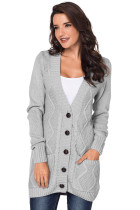 Gray Front Pocket and Buttons Closure Cardigan