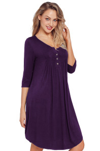 Purple Quarter Sleeve Casual Tunic Dress