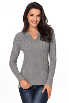 Gray Ribbed Cable Knit Women Sweater