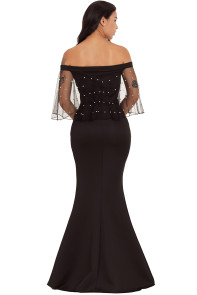 Pearl Mesh Flounce Black Mermaid Party Dress