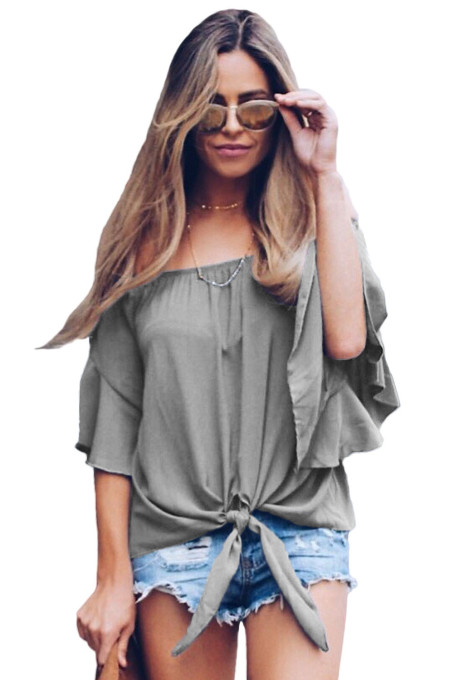 Gray Off The Shoulder Knot Front Top