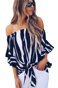 Off The Shoulder Vertical Stripes Blouse in Black