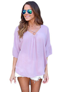 Lilac Criss Cross Loose Fit Top