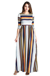 Mustard Multicolor Striped Casual Pocket Style Maxi Dress