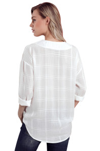 White Crepe Plaid Notched Neckline Blouse
