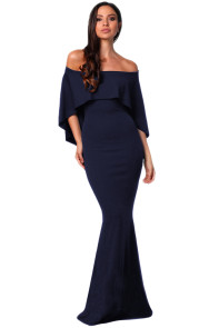 Navy Off Shoulder Poncho Gown Mermaid Dress