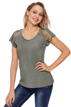 Gray Ripped Hollow Out Shoulder Tie Dye T-Shirt Top