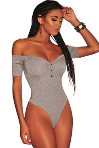 Grey Button Off Shoulder Sleeved Bodysuit