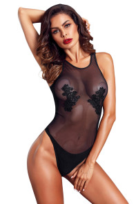 Black Mesh and Guipure Lace Teddy