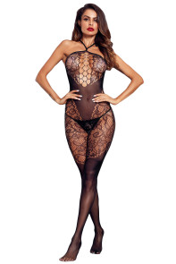 Black Seamless Halter Bodystocking