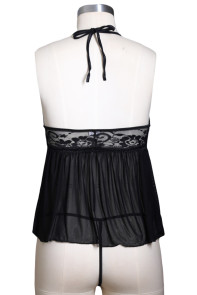 Black Mesh & Lace Cupless Flutter Babydoll