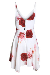 Elegant Floral Print Asymmetric Hem Sway Dress