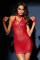 Enchanting Red Chemise Set with Collar and Wrist Straps