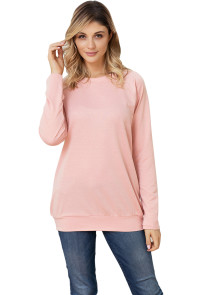 Gold Zip Detail Pink Pullover Sweatshirt