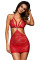 Christmas Valentine Day Holiday Red Heart Lace Strappy Chemise