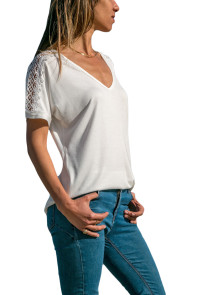 White V Neck Lace Splicing Short Sleeve Shirt