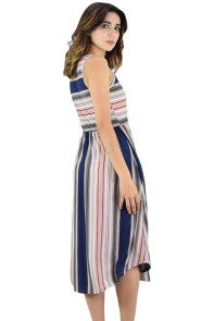 Pink Blue Striped Sleeveless Midi Dress
