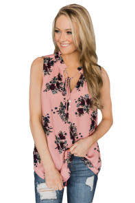 Pink Finesse Neck Tie Chiffon Tank Top
