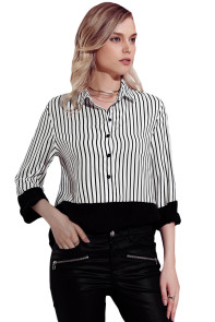 Black Pinstripe Color Block Relaxed Boyfriend Shirt