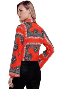 Red Printed Flare Long Sleeve Wrap Bodysuit