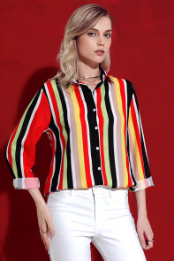 Red Multicolor Stripe Long Sleeve Button Down Shirt