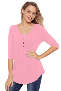 Pink 3/4 Sleeve Button Detail Pleated Tunic