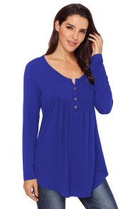 Blue Long Sleeve Button up Pleated Tunic