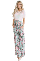 Pink Shirt Top Floral Print Maxi Dress