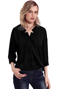 Black Crepe Plaid Notched Neckline Blouse