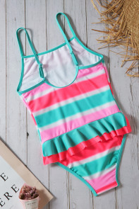 Neon Multicolor Striped Ruffle Trim Girls' Teddy Swimsuit
