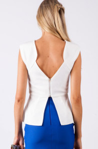 White Zipped Back Top with Peplum Detail