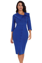 Blue 3/4 Sleeve Button Detail Bodycon Midi Dress
